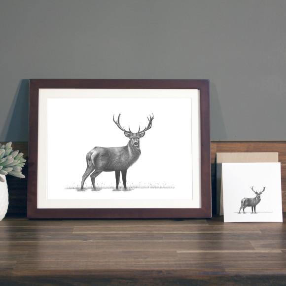 Stag print A4 mocha frame
