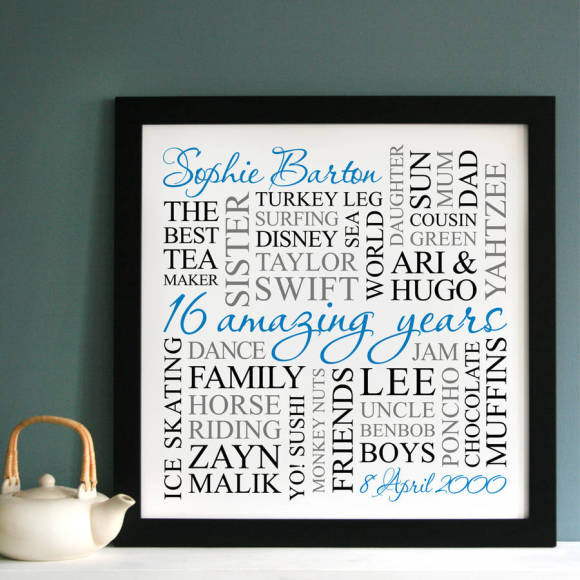 thinner frame white print with blue, black & grey text