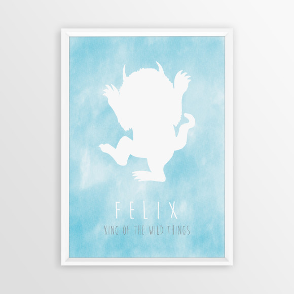 Personalised King of the Wild Things Print ni Aqua, with optional white timber frame