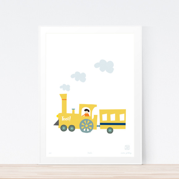 Train art print framed