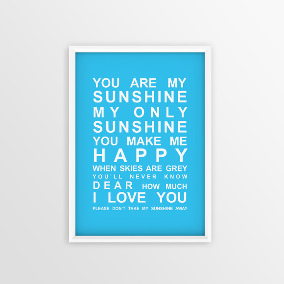 You are My Sunshine Bus Roll Print with optional white timber frame, in Sky Blue