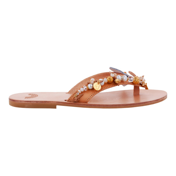 beaded white leather sandals for summer