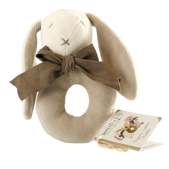 Grey/white Ears, Rose & Oscar the Bunny Baby Ring Rattle