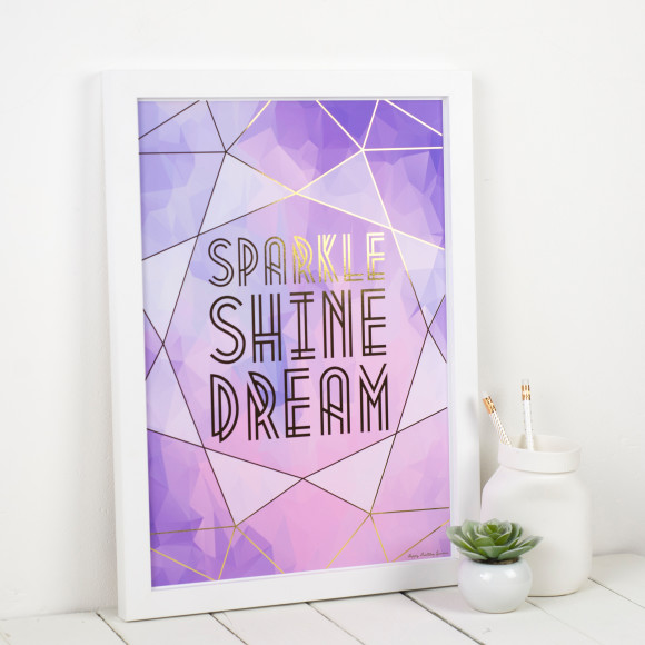 Personalised 'Sparkle, Shine, Dream' Foiled Art  Print