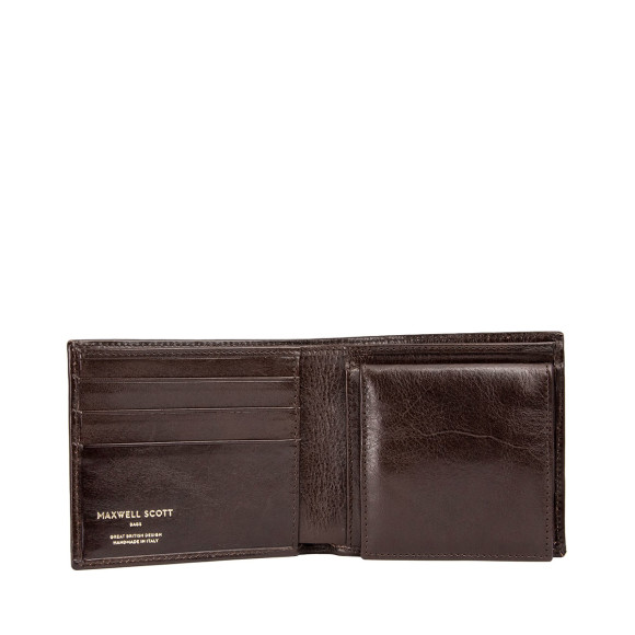 Mens leather wallet in chocolate brown