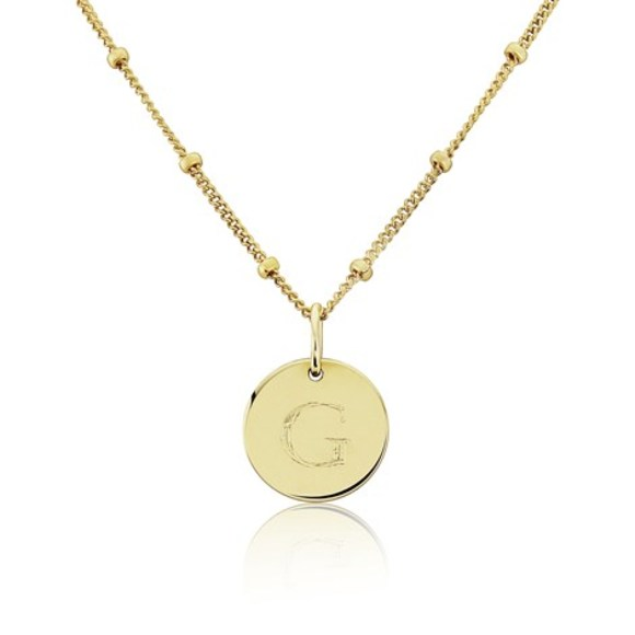 Gigi Pendant on Goldfill Curb & Bead Chain with Times New Roman Engraving