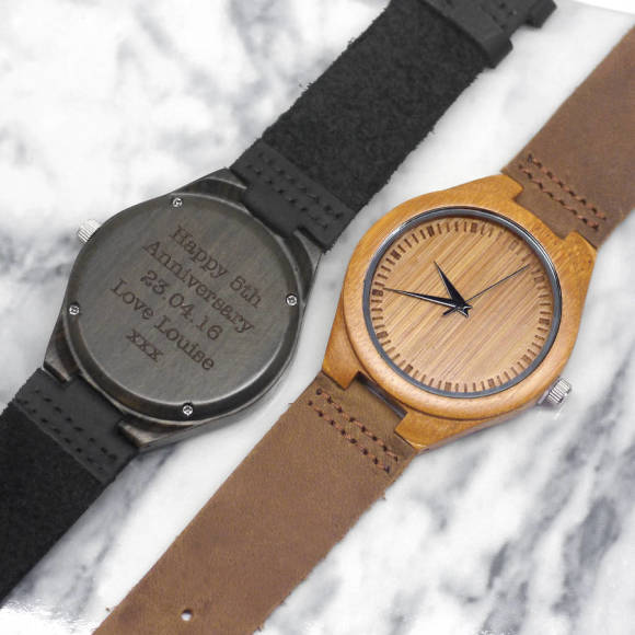 Personalised Walnut Wood Men's Watch