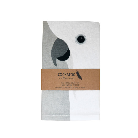 Sulphur-crested cockatoo tea towel
