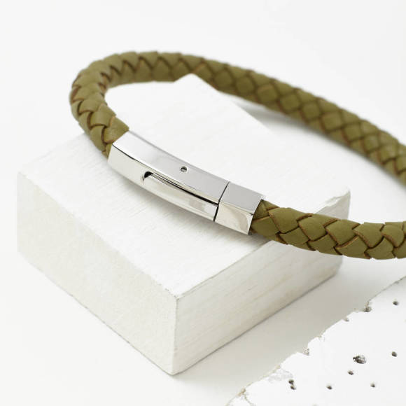 Mens plaited leather bracelet olive
