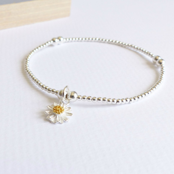 Sterling silver beaded daisy bracelet