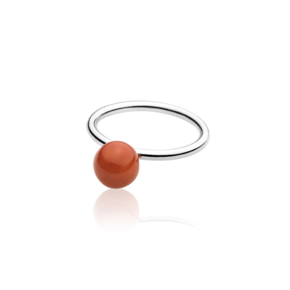 Red Elements Small Ball Ring