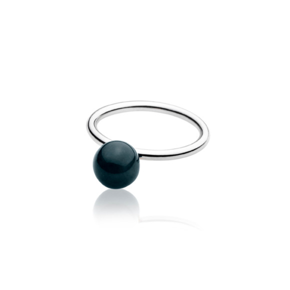 Black Elements Small Ball Ring