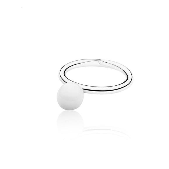 White Elements Small Ball Ring