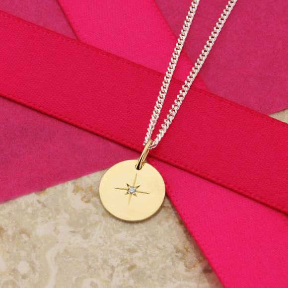 Diamond Star Pendant on Fine Silver Curb Chain