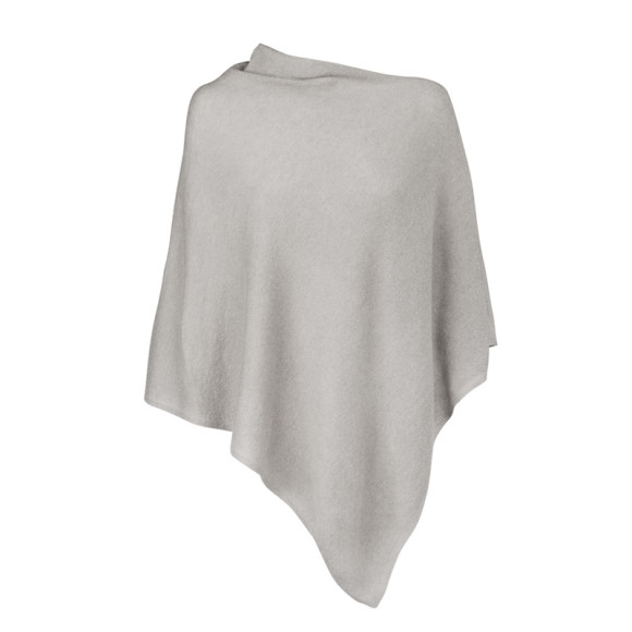 Cashmere Poncho in Warm Light Grey
