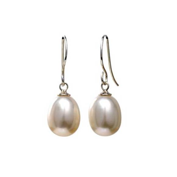White Tear Drop Pearl Earrings on Sterling Silver Hooks