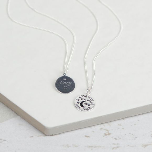 To the moon and back silver personalised necklace by Suzy Q