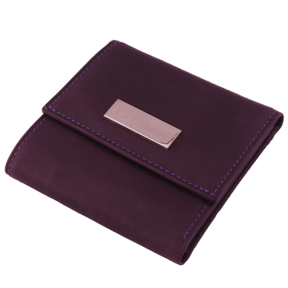 Luxury leather ladies mini-wallet in deep purple and suede