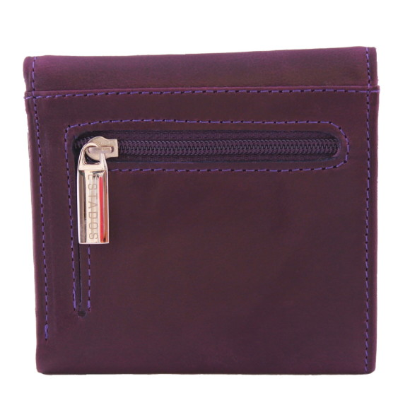 Luxury leather ladies mini-wallet in deep purple and suede rear