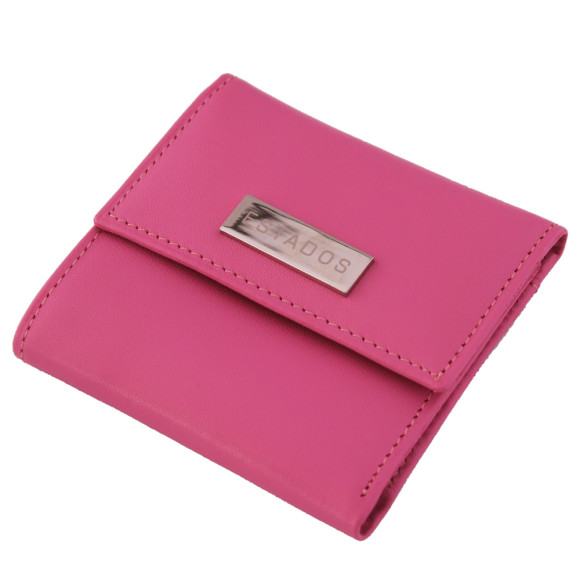 Luxury leather ladies mini-wallet in pink and sky