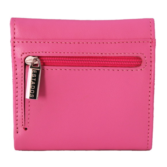 Luxury leather ladies mini-wallet in pink and sky rear
