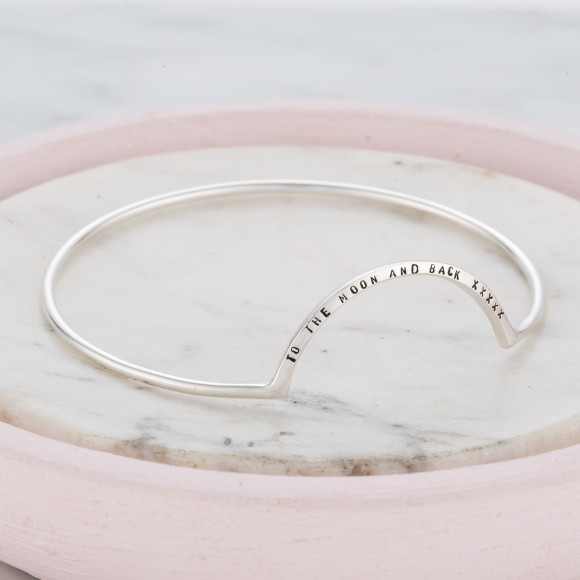 Personalised Eclipse Bangle in silver