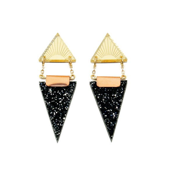 Double Triangle Earrings - Gold / Black Glitter