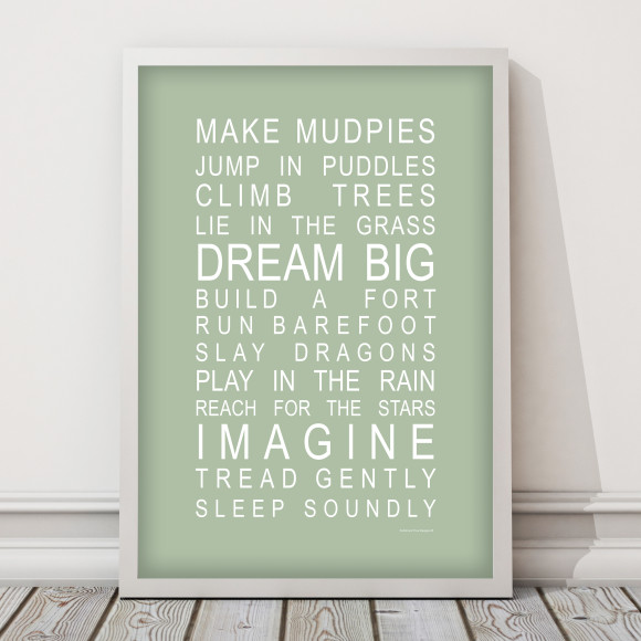 Dreams for Your Boy Print in Pistachio Green, with optional Australian made white timber frame