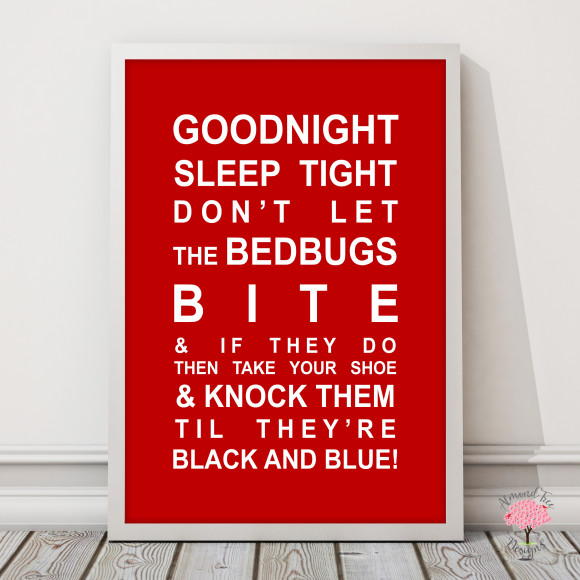 Goodnight Sleep Tight Print in Red, with optional Australian-made white timber frame