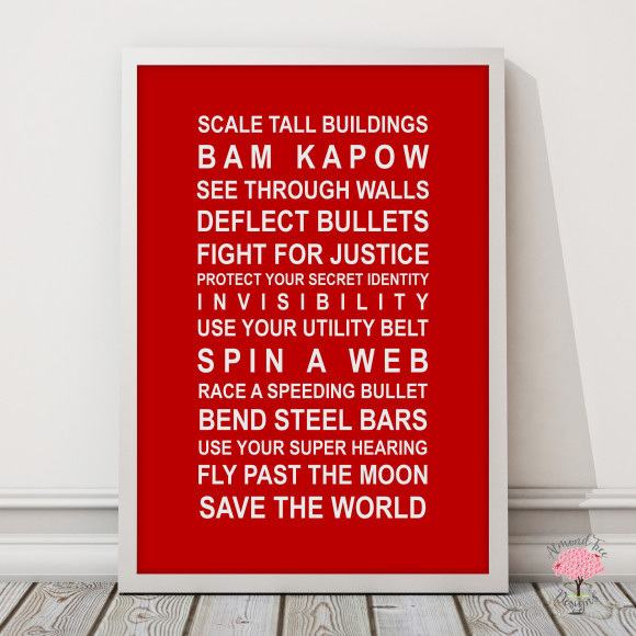 Superheroes print in Red, with optional Australian-made white timber frame