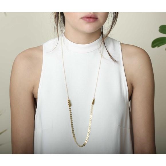 Bamboo Tassel Necklace Orange on Model