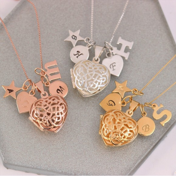 sterling silver rose gold or gold filigree celtic heart locket personalised with letter charms
