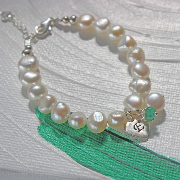 childs freshwater pearl christening bracelet with emerald birthstone for may birthdays