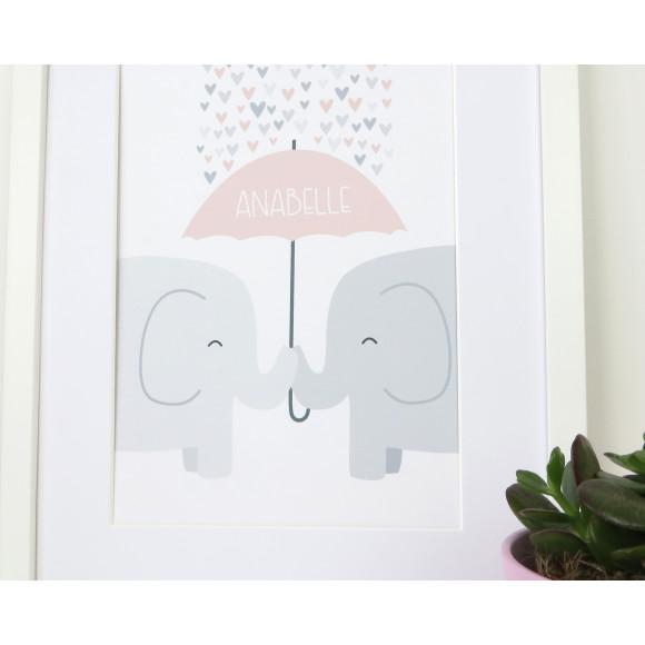 Elephant Nursery Print - pale pink