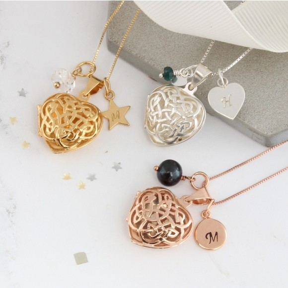 sterling silver rose gold or gold filigree celtic heart locket with April,May and June birthstones