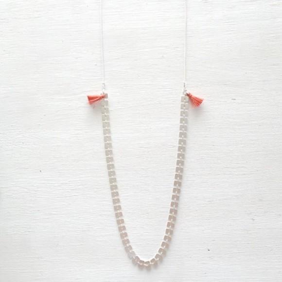 Bamboo Tassel Necklace Orange Silver