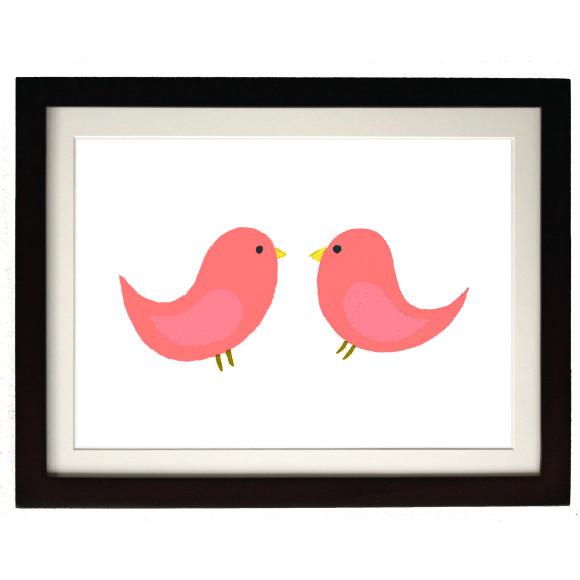 Twin coral birds mocha frame