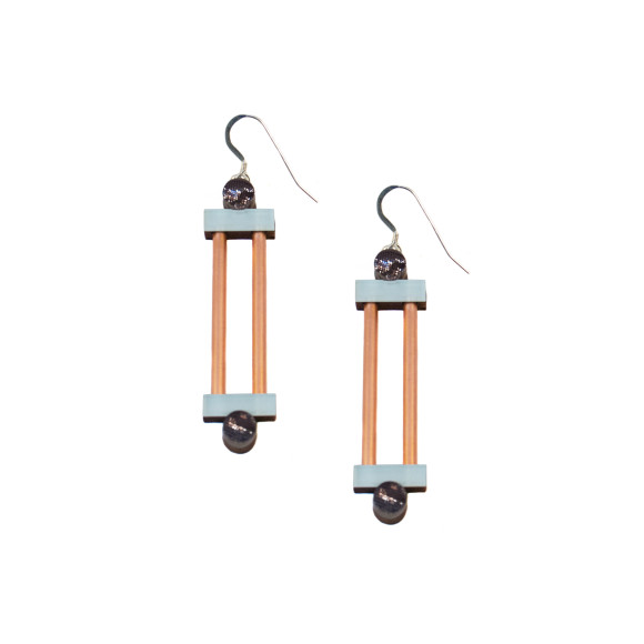 Column Earrings - Pastel Blue / Copper