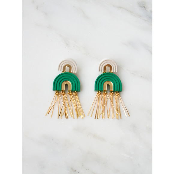 Two Arch Tassel Earrings - Emerald