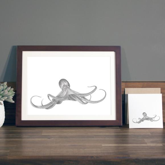 Octopus print A4 mocha frame