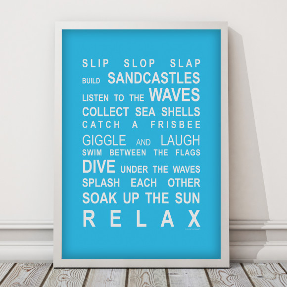 Beach Rules Print in Sky Blue, with optional Australian-made white timber frame