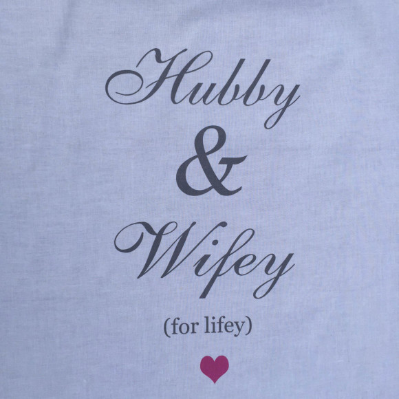Hubby & Wifey Tea Towel Close Up