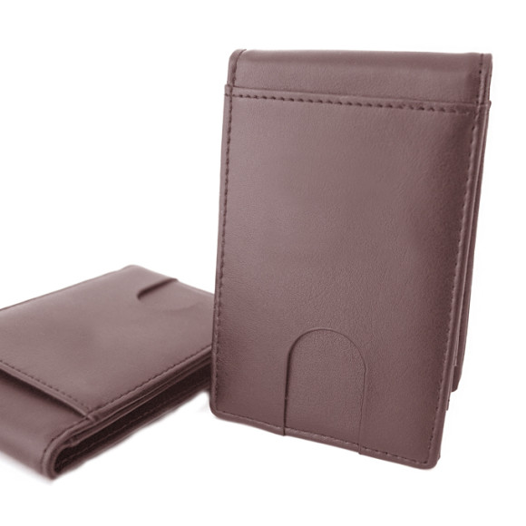 Wallet front - Brown leather