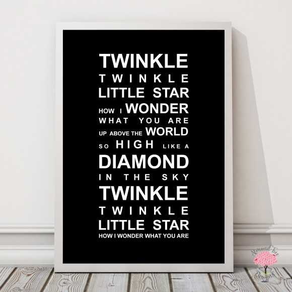 Twinkle Twinkle Print in Black, with optional Australian-made white timber frame