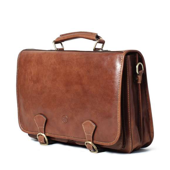 Mens leather briefcase in chestnut brown
