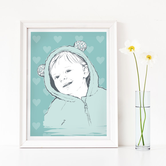 Children's portrait, heart background