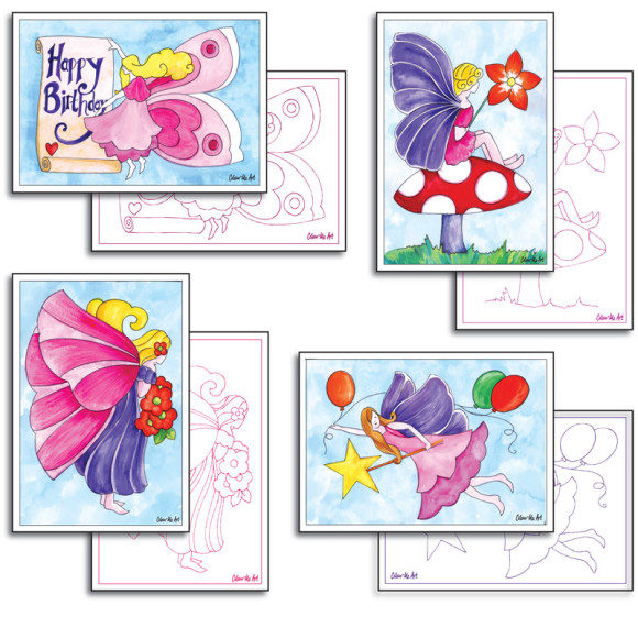 Fairy Cards to Colour and Send