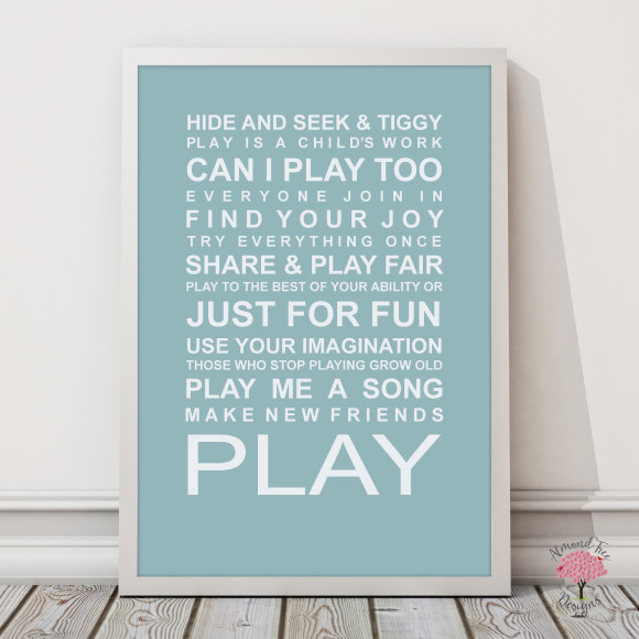 Expressions of your childhood playroom rules print in Duck Egg, with optional Australian-made white timber frame