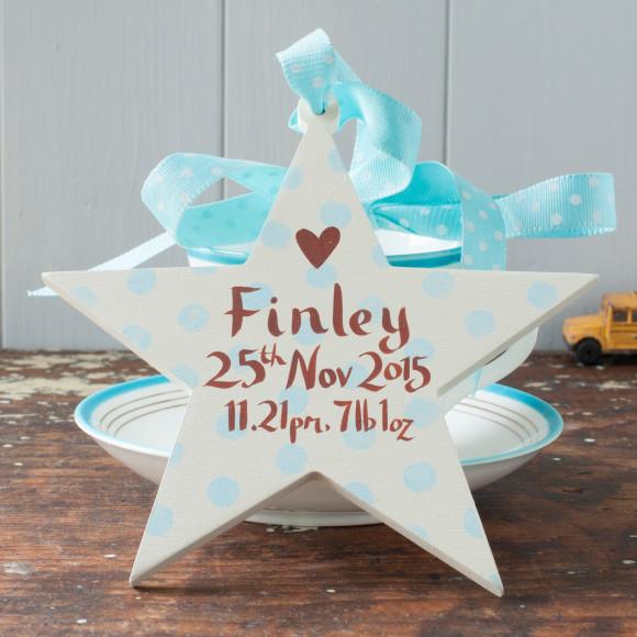 Baby boy's birth date star
