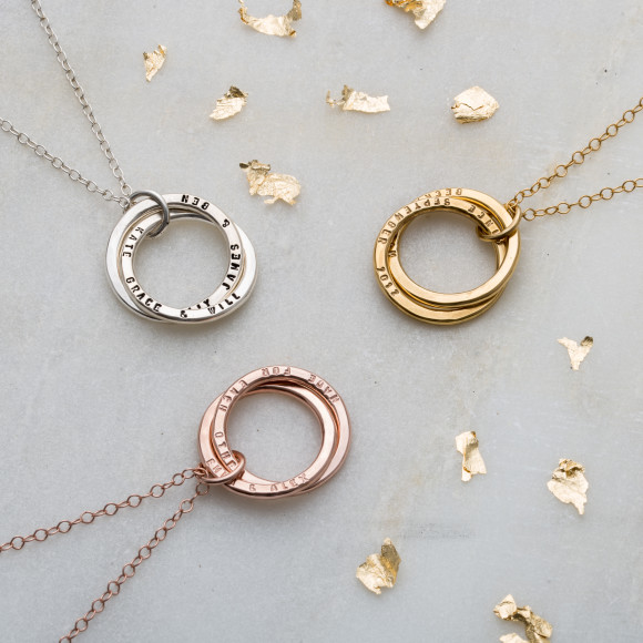 Personalised Interlinking Names Necklace in silver, yellow gold plate, and rose gold plate
